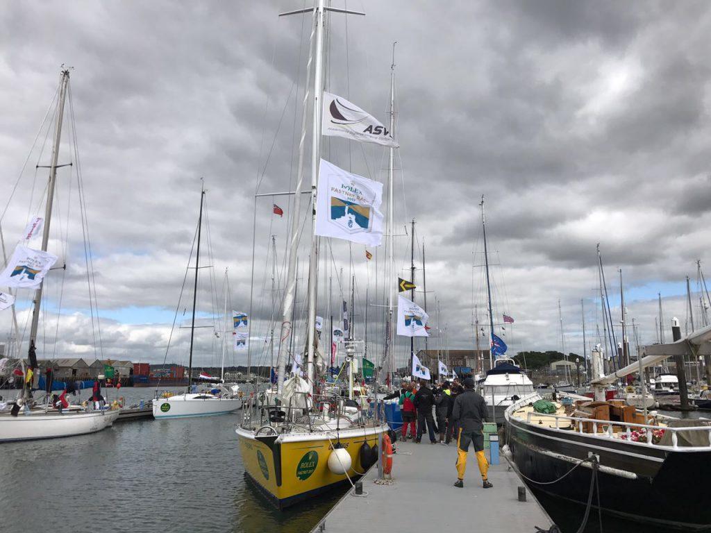 ASVS Stuttgart Hochseesegelyacht Odysseus liegt als Finisher des Rolex Fastnet Race in Plymouth am Steg